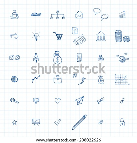 doodles business icons set. vector eps10 - stock vector