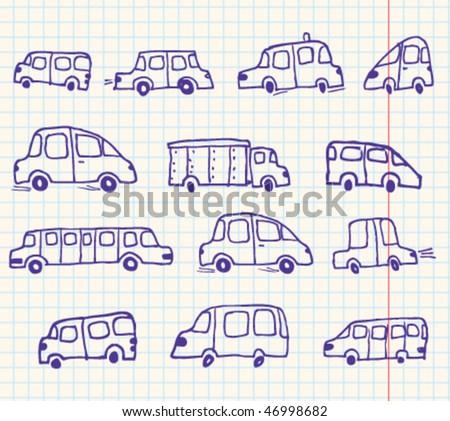 Doodles cars set - stock vector