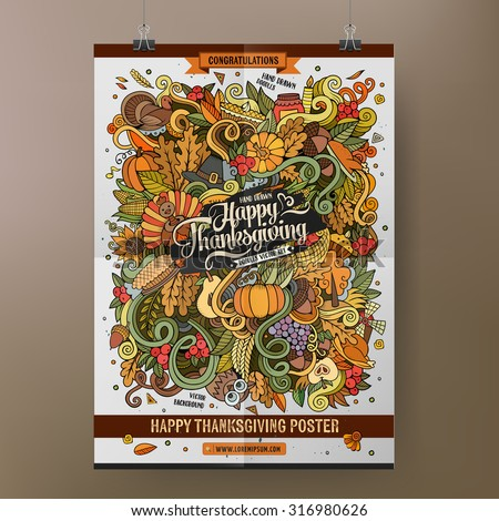 Doodles cartoon colorful Happy Thanksgiving hand drawn illustration. Vector template poster design - stock vector
