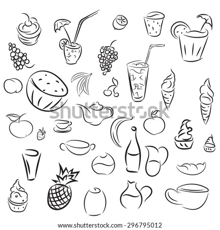 Doodles cocktails and desserts, fruits,coffee,alcohol, bar, drink icons. Collections for bars, cafe or restaurant in sketch. Vector ice cream, juice and tea