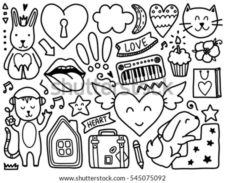 Doodles Cute Elements Black Vector Coloring Page Illustration With Hearts And Flowers Animals
