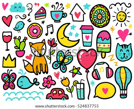 Color Vector Items Illustration With Hearts And Flowers Animals