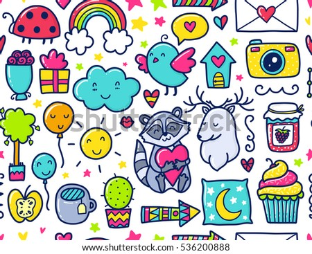 Doodles Cute Seamless Pattern Color Vector Background Illustration With Hearts And Flowers Animals