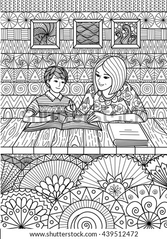 Doodles design of mother helping son with his study at home, design for adult coloring pages. Happy mother's day - stock vector