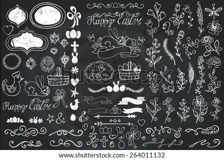 Doodles easter decor elements set.Hand sketched flowers,swirl border,budges,arrows,ribbons for hand sketched logo.Design templates,invitations,logo.Holidays,baby design.Vector Chalkboard - stock vector