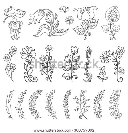 Doodles flowers and branches in Linear style.Hand drawing decor elements.Isolated on white for greeting cards, Easter,birthday,wedding invitation ,pattern,scrapbooking.Retro vector illustration