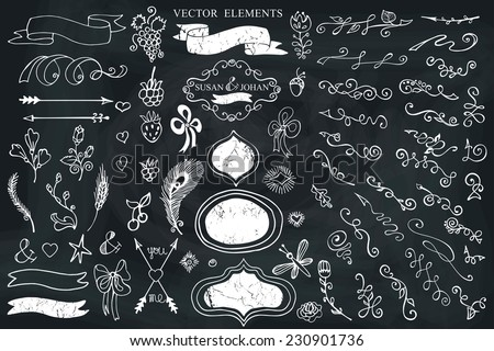 Doodles flowers,border,budges,arrows,ribbons,decor set for hand sketched logo on Chalkboard.Easy to make design templates,invitations,logo. For wedding,Valentine day,holidays,Easter,birthday.Vector - stock vector