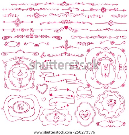 Doodles frame,border,arrow,ribbons,hearts,love decor elements set.For design template,invitation,card. Children's hand drawing style.For weddings,Valentine day,holidays,Easter,birthday.Vector - stock vector