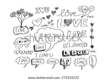 doodles freehand letters love text idea for valentine's day - stock vector
