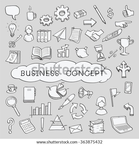 Doodles in business object and concept icons set. Sketching, hand writing, vector illustration. - stock vector