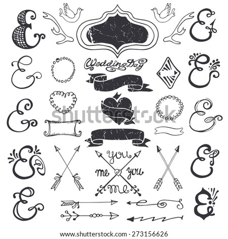 Doodles lettering ampersands,catchwords,arrows,wedding romantic decor elements set.Hand drawing style,sketchy vintage vector.Weddings,Valentines day,holidays,birthday,design templates,invitations - stock vector