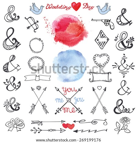 Doodles  lettering ampersands,catchwords,arrows,wedding romantic decor elements set.Watercolor stain,hand drawing sketchy vintage vector.Weddings,Valentines day,holidays.Design templates,invitations - stock vector