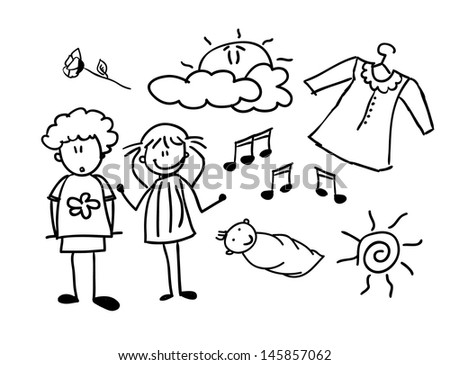 Doodles of happy family (set), vector illustration - stock vector