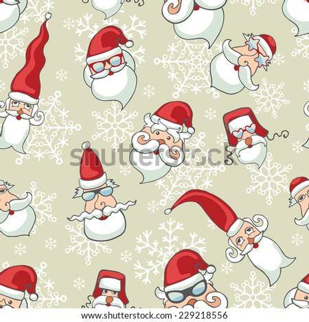 Doodles Santa Claus faces in seamless pattern.Snowflakes background.For Backdrop,background,fabric,Wallpaper.Humor Christmas,new year .Vector set - stock vector