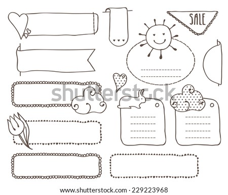Doodles set labels lines use image stock vector 229223968 shutterstock doodles set of labels in the lines use the image of a tulip sun ccuart Images