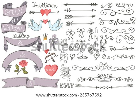 Doodles swirl border,arrow,heart,ribbon,love decor elements set.For design templates,invitations,save date,RSVP.Hand drawing style.Wedding,Valentine day,bridal shower Vector - stock vector
