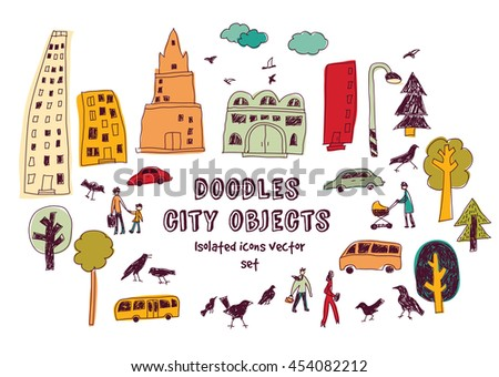 Doodles urban city life isolate objects color set on white. Color vector illustration. EPS8
