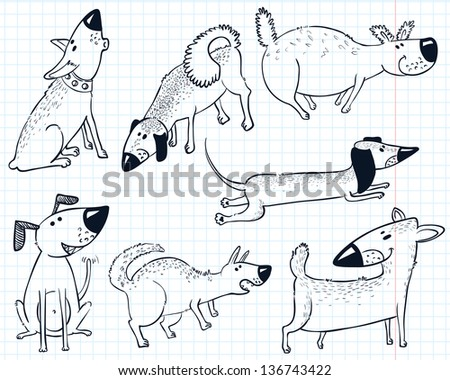 Doodles with cute dogs - stock vector