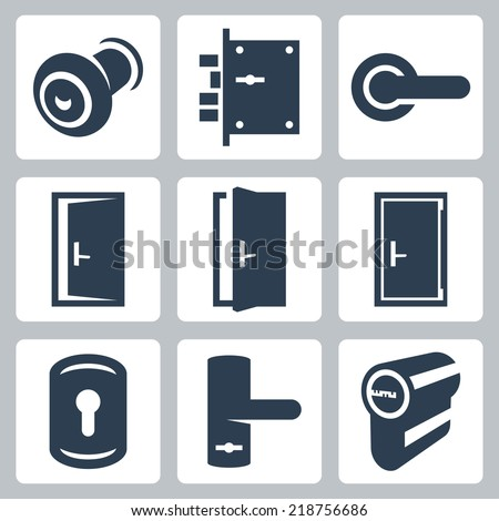 Door and accessory equipment vector icons set  sc 1 st  Shutterstock & Door Accessory Equipment Vector Icons Set Stock Vector 218756686 ... pezcame.com