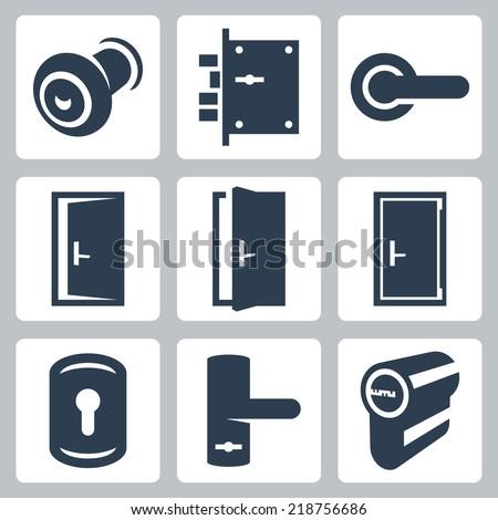 Door and accessory equipment vector icons set - stock vector