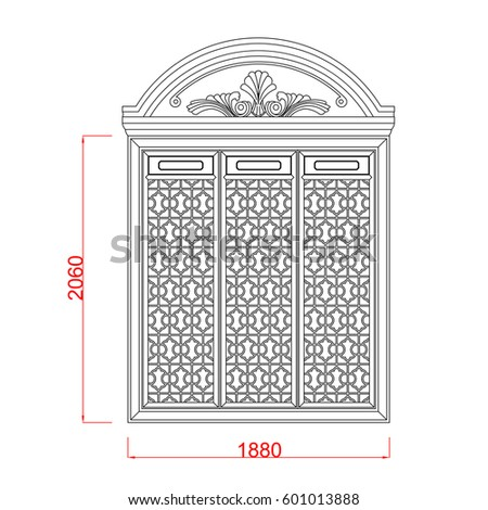 Door And Window Architectural Sketch Work Vector Line Art In The White  Background With Dimension