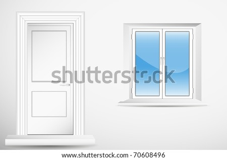 Door and window in empty room. Vector. - stock vector