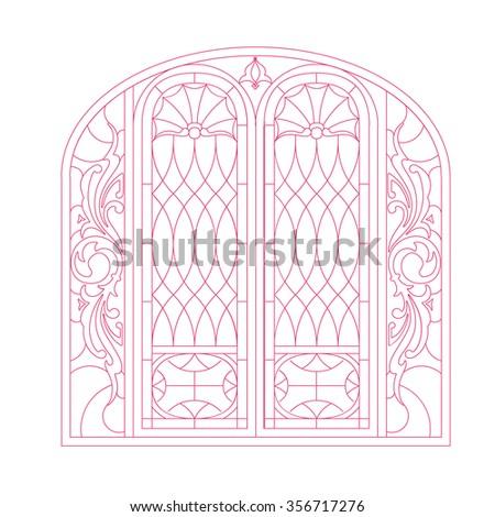 Door gate vintage industrial work design double door - stock vector
