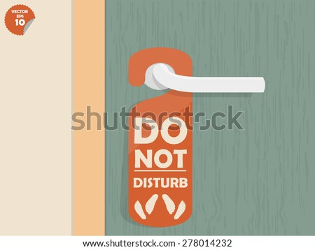 door handle hanging room tag with text shown do not disturb and make love sign,room tag design - stock vector