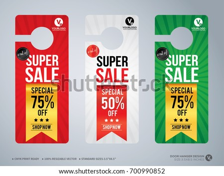 Door Hanger Design Template Hotel Knob Stock Vector