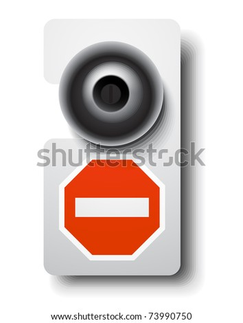 Door hanger with stop sign - stock vector