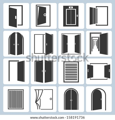 door icons set - stock vector