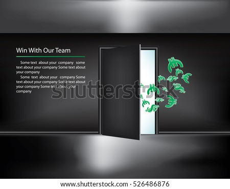 Door in dark room with money