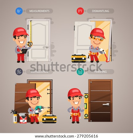 Door Installation Step by Step with Handyman Carpenter. In the EPS file, each element is grouped separately. - stock vector