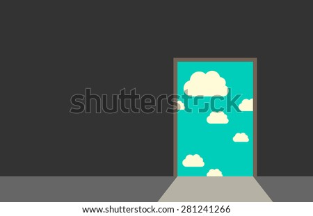 Door leading from dark gray room to blue sky with clouds and bright daylight. Great dreams, freedom, hope, faith, real life, beginning concept. EPS 10 vector illustration, no transparency - stock vector