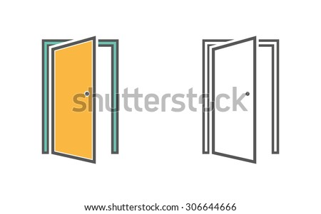 Door line icon on white background. Vector illustration.  sc 1 st  Shutterstock & Door Icon On White Background Vector Stock Vector 302835761 ... pezcame.com