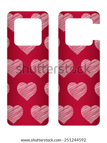 door tags with Valentine's day design - stock vector