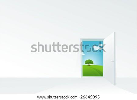 Door to the summer. Vector template. - stock vector