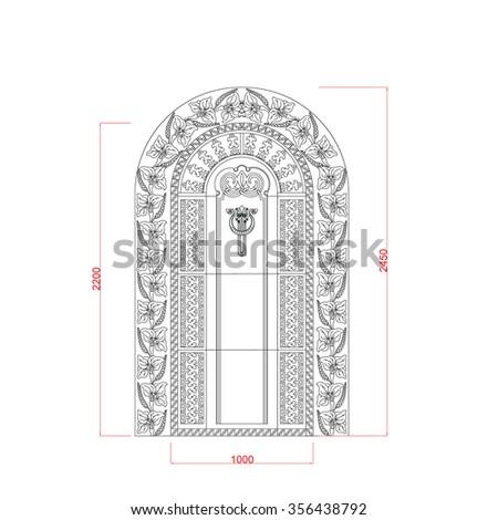 Door vector design top arc with dimension - stock vector