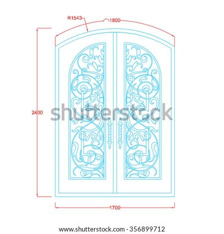 Door vintage design double door top arc with dimension - stock vector