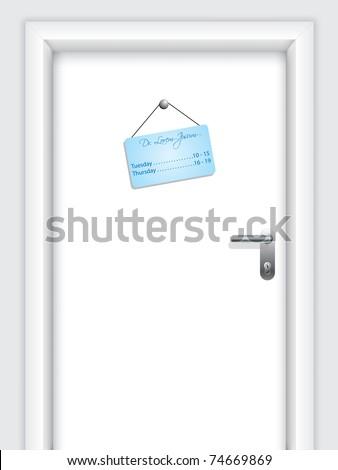 Door with doctor's hanging timetable - stock vector