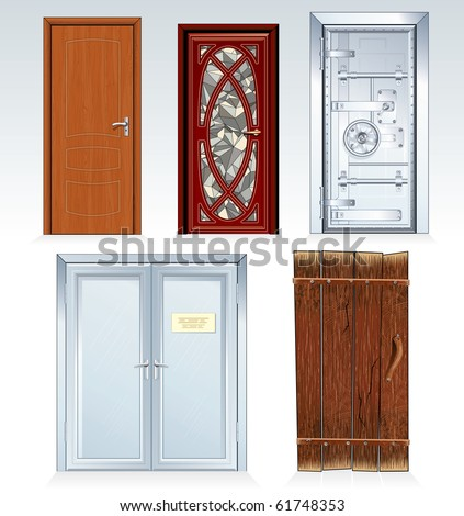 Doors Collection, classic bank vault door,wooden door, church front door, office double door, aged rural door. Vector illustration