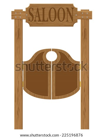 doors in western saloon wild west vector illustration isolated on white background - stock vector