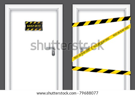 Doors with caution messages and forbidden entrances - stock vector