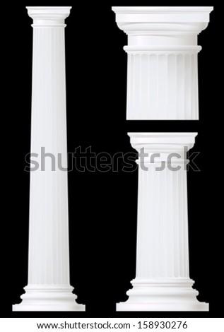 doric column set ,vector drawing - stock vector