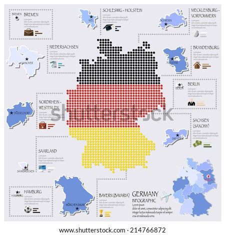 Dot And Flag Map Of Germany Infographic Design Template - stock vector