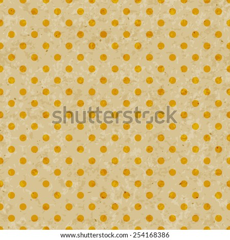 Dot pattern on grunge old paper texture, Seamless polka dot pattern vintage hipster background. Yellow. - stock vector