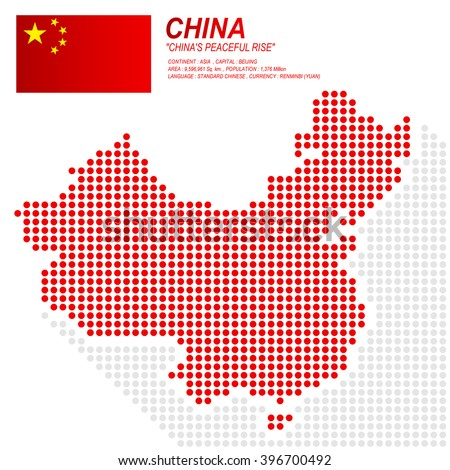 Dot style of China map and flag on white background.(EPS10 art vector) - stock vector