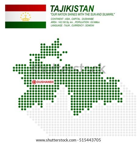 Dot Style Tajikistan Map Flag On Stock Vector Shutterstock - Tajikistan map vector
