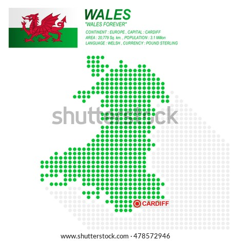 Dot style of Wales map and flag on white background.(EPS10 art vector)