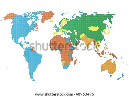 Dot style world map continents stock vector 48963496 shutterstock dot style world map with continents gumiabroncs Image collections